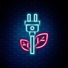 Glowing Neon Line Electric Saving Plug In Leaf Icon Isolated On Brick Wall Background. Save Energy Electricity. Environmental Protection. Bio Energy. Colorful Outline Concept. Vector