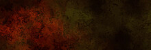 Dark Horror Background In Green And Red Tones, Sepia Rusty Panoramic Goth Cracked Background With Old Stone Wall Vintage Grunge Smear Halloween Texture Wallpaper Or Paper