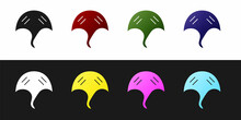 Set Stingray Icon Isolated On Black And White Background. Vector.