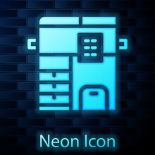 Glowing Neon Office Multifunction Printer Copy Machine Icon Isolated On Brick Wall Background. Vector
