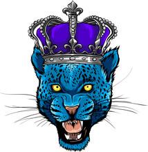 Vector Leopard Portrait. Angry Wild Big Cat Head.