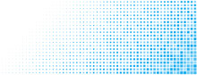 Abstract Halftone Background Made Of Small Square Dots Of Different Sizes In Light Blue Colors