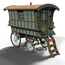 3d-illustration Of An Isolated Traveler Waggon