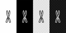 Set Line Gardening Handmade Scissors For Trimming Icon Isolated On Black And White Background. Pruning Shears With Wooden Handles. Vector