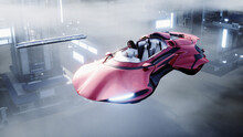 Young Girl On A Flying Car In The Over Clouds. Future Concept. 3d Rendering.