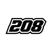 Racing Number 208 Logo On White Background