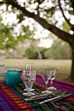 A Colourful Picnic Table Set Under Some Trees In Bushland