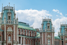 The Grand Palace In Tsaritsyno Park In Moscow On Cloudy Sky Background
