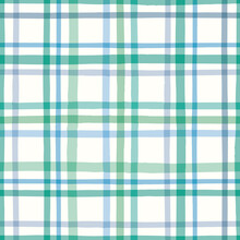 Check Pattern In Green. Vector Seamless Repeat Of Hand Drawn Checked Gingham Design. Cute Geometric Illustration.