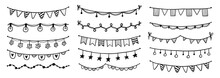 Party Garland Set With Flag, Bunting, Pennant. Hand Drawn Sketch Doodle Style Garland. Vector Illustration For Birthday, Festival, Carnival Drawn Decoration.