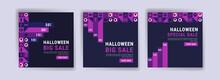 Social Media Post Template For Halloween Sale. Sales Banner For Halloween Celebration.