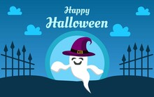 Blue Color Halloween Background For Banner Template.