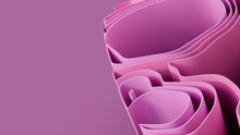 Pink 3D Waves Arranged To Create A Colorful Abstract Background. 3D Render With Copy-space.