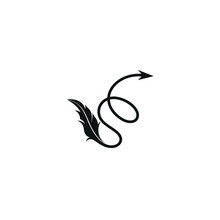 Logo Letter S Shape Shoelaces Arrow And Feather Design Template