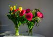 Bukiety kwiatów, urodziny, tulipany, róże, zieleń