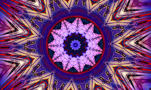 Purple Star Kaleidoscope Background. Beautiful Multicolor Kaleidoscope Texture. Unique Kaleidoscope Design, Unique Shape, Wonderful Texture, Purple Abstract Pattern
