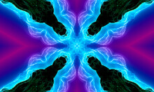 Neon Star On Purple Background. Beautiful Multicolor Kaleidoscope Texture. Unique Kaleidoscope Design, Unique Shape, Wonderful Texture, Purple Abstract Pattern