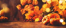 Thanksgiving Pumpkins Still Life On Rustic Wooden Background - Autumn Harvest Festival Concept Table Setting, Banner With Copy Space