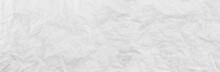 Panorama White Paper Wrinkled Texture Background.