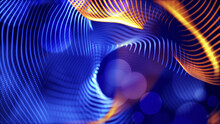 Christmas Magic Abstract Fractal Dynamic Swirl Curves Glowing Grid Waves. Blurred Blue Orange Background Template.