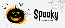 Spooky Halloween Banner With Smiling Pumpkin Ghost