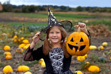 Little Girl In Witch Costume Playing On Pumpkin Field. Child Having Fun At Halloween Trick Or Treat. Kids Trick Or Treating. Happy With Jack-o-lantern.