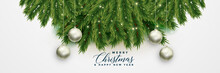 Christmas Tree Leaves Banner With Xmas Balls