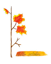 Autumn Postcard Template Maple Branch With Lettering Hello October, Watercolor Sketch, Hand Drawing. Isolated, Place For An Inscription, White Background. Vector Illustration