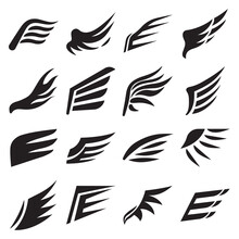 Wings Silhouettes Of Bird Feathers, Heraldic Icons