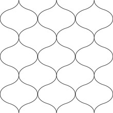 Ogee Abstract Vector Seamless Pattern Background With Retro Shapes Net Texture. Neutral Black White Geometric Backdrop. Monochrome Chicken Wire Style Versatile Repeat Print For Wellness Packaging