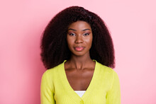 Photo Of Concentrated Gorgeous Dark Skin Person Look Camera Wear Green Isolated On Pink Color Background