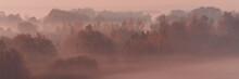 Foggy Morning At Sunrise. Autumn Nature