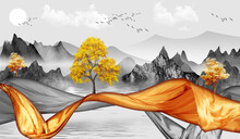 3d Modern Canvas Art Mural Wallpaper Landscape Lake Background. Golden Christmas Tree,  Gray Mountains, Sun With Clouds And Birds . Suitable For Use As A Frame On Walls.