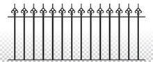 Classic Medieval Ancient Wrought Iron Fence. Vector. Iron Railing. Urban Design. Vintage Decor. Luxury Modern Architecture. Castle. City. Street. Park. Blacksmithing. Metal. Grey. Isolated On White.