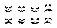 Halloween Pumpkin Face Icon Set. Scary, Funny, Happy, Smile, Creepy And Spooky Ghost Faces. Vector Illustration.