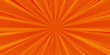 Halftone Comic Background. Orange Wallpaper Template With Superhero Design. Vector Illustration In Pop Art Style