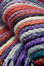 Knitted Multi-colored Yarn. Close-up.