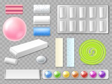 Realistic Chewing Gum. 3D Mint And Fruits Bubblegum. Fresh Breath And Oral Hygiene. Pads Blister Pack. Various Menthol Plates And Sweet Balls In Foil Package. Vector Gummy Candies Set
