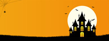 Happy Halloween Template Banner Background With Copyspace, Minimalist Design With The Castle, Bat, Web Spider And Full Moon On Orange Color Background