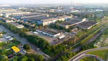 Aerial Drone View Flight Over Industrial Zone On Summer Morning.