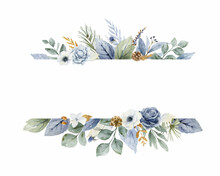 A Watercolor Vector Christmas Banner With Dusty Blue Flowers And Branches.