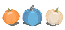 Vector Clipart Of Three Pumpkins: Orange, Blue And Beige With Shadows That Can Be Removed. Can Be Used For Icons, To Decorate Packaging Or Create Ornaments