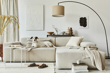 Creative Composition Of Cozy Living Room Interior Design With Mock Up Poster Frame And Structure Painting, Corner Sofa, Coffee Table, Textile And Personal Accessories. Scandinavian Classic Style.