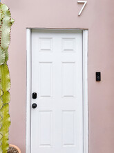 Pink Wall With White Door And Cactus