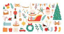 Christmas Cartoon Decorations And Toys. New Year And Merry Xmas Decor Elements, Nutcracker, Mistletoe, Socks And Santa Stickers Vector Set