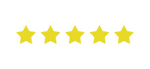 Rating Sticker Icon With Five Gold Stars On A White Background. Flat Design. White Background. Isolated Vector Icon. Vector Gold Background. Vector Graphics.