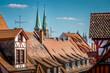 canvas print picture - Nürnberg, Blick über die Dächer der Altstadt mit Sebalduskirche und Lorenzkirche im Hintergrund