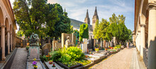 Vysehrad Cemetery, Prague, Czech Republic - Panorama Of The Cemetery With Arcades And Graves Of Famous Personalities