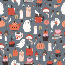 Cute Illustrated Halloween Pattern. Seamleass Repeated Background.