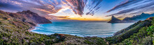 Scenic Mountain Landscape And Sunset View Along World Famous Coastline. Cape Town, South Africa Is A Wonderful Travel Destination For Nature, Adventure And Tourism.